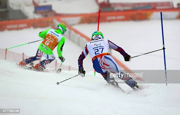 Miroslav Haraus of Slovakia competes in the Men's SC Slalom Run 1 Visually Impaired during day four of Sochi 2014 Paralympic Winter Games at Rosa...