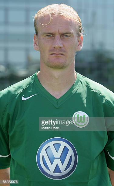 Miroslav Karhan poses during the team presentation of VFL Wolfsburg for the Bundesliga Season 2005 2006 on July 10 2005 in Wolfsburg Germany