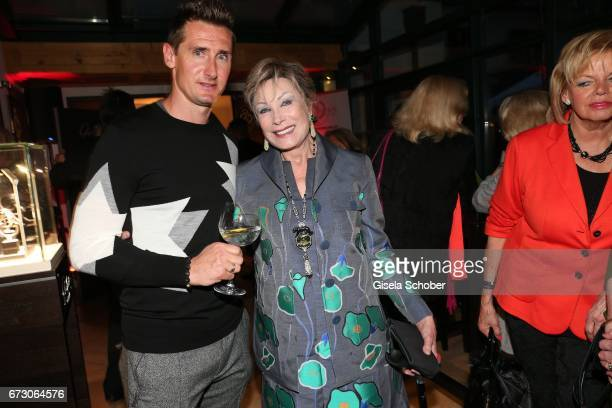 Miroslav Klose and Dr Antje Katrin Kuehnemann during the piano night hosted by Wempe and Glashuette Original at Gruenwalder Einkehr on April 25 2017...