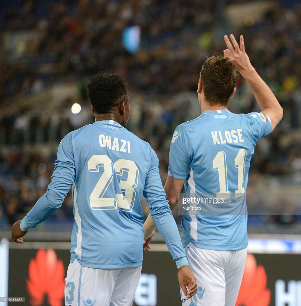 Miroslav Klose celebrates after scoring a goal 1-0 with teammates during the Italian Serie A football match between S.S. Lazio and F.C. Inter at the Olympic Stadium in Rome, on may 01, 2016.