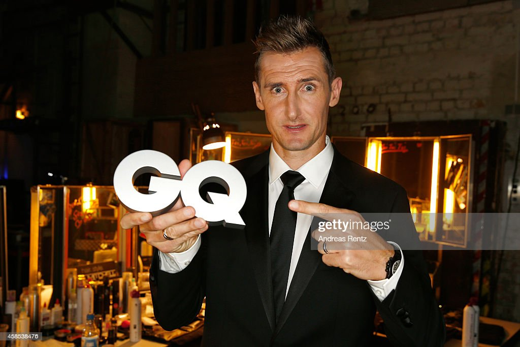Miroslav Klose is seen backstage at the GQ Men Of The Year Award 2014 at Komische Oper on November 6, 2014 in Berlin, Germany.