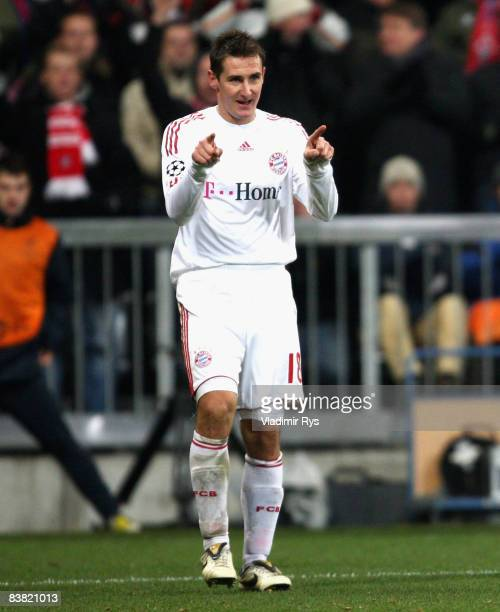 Miroslav Klose of Bayern celebrates after scoring the 30 goal during the UEFA Champions League Group F match between FC Bayern Muenchen and Steaua...