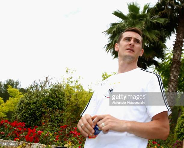 Miroslav Klose of Germany arrives for the Media day at the Son Muntaner Golf Club on May 23 2008 in Mallorca Spain