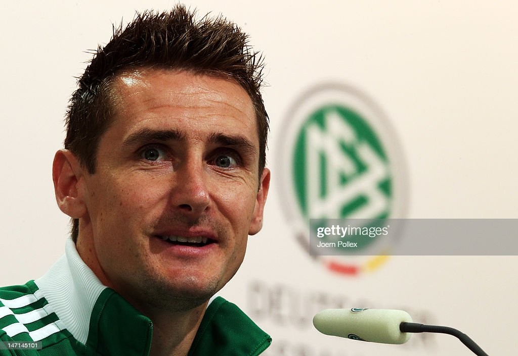 Miroslav Klose of Germany attends a press conference ahead of their UEFA EURO 2012 semi-final match against Italy at the Germany press centre on June 26, 2012 in Gdansk, Poland.