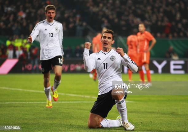 Miroslav Klose of Germany celebrates after scoring his team's second goal during the International friendly match between Germany and Netherlands at...