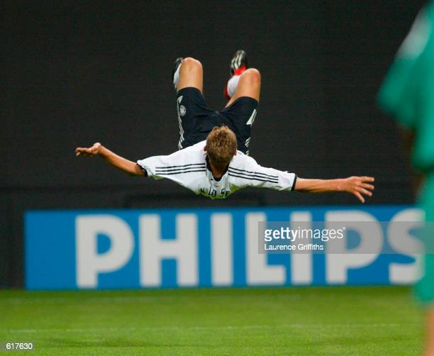 Miroslav Klose of Germany celebrates his second goal in the first half during the Germany v Saudi Arabia Group E World Cup Group Stage match played...