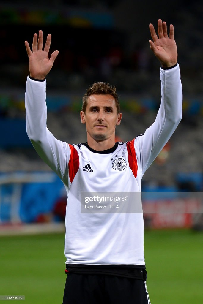 Miroslav Klose of Germany celebrates the 7-1 win after the 2014 FIFA World Cup Brazil Semi Final match between Brazil and Germany at Estadio Mineirao on July 8, 2014 in Belo Horizonte, Brazil.