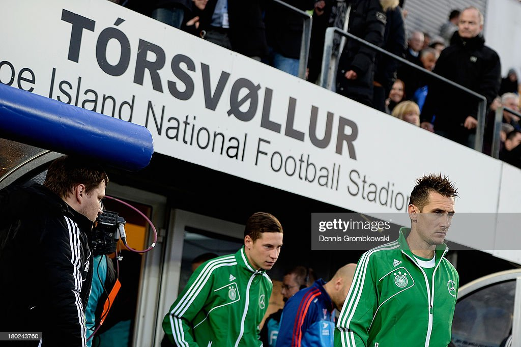 Miroslav Klose of Germany enters the pitch prior to the FIFA 2014 World Cup Qualifier match between Faeroe Islands and Germany on September 10, 2013 in Torshavn, Denmark.