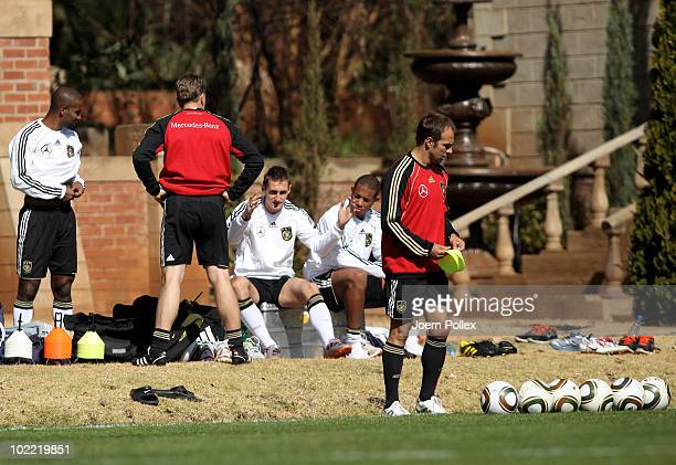Miroslav Klose of Germany gestures during training at Velmore Grande Hotel on June 19 2010 in Pretoria South Africa