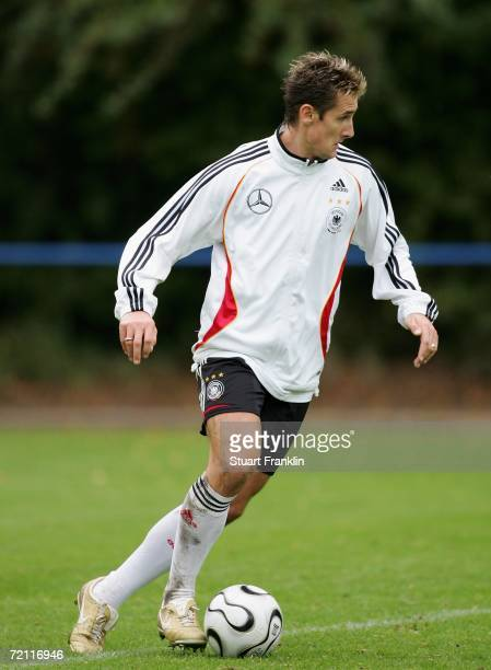 Miroslav Klose of Germany in action during a German national football team training session in Kuhlungsborn on October 7 2006 in Rostock Germany
