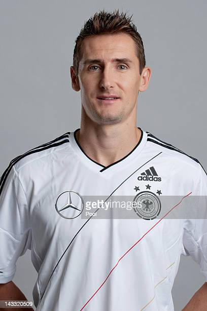 Miroslav Klose of Germany poses during a national team photocall on November 14 2011 in Hamburg Germany