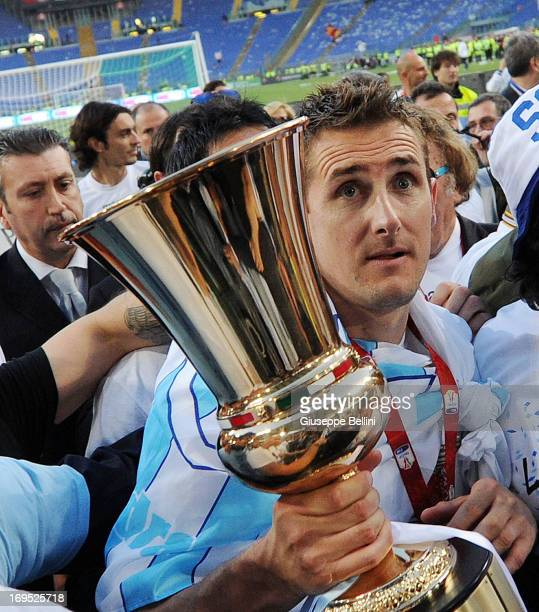 Miroslav Klose of Lazio celebrates the victory after the TIM cup final match between AS Roma v SS Lazio at Stadio Olimpico on May 26 2013 in Rome...