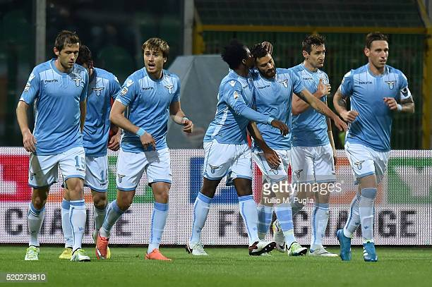 Miroslav Klose of Lazio is celebtates after scoring his team's second goal during the Serie A match between US Citta di Palermo and SS Lazio at...