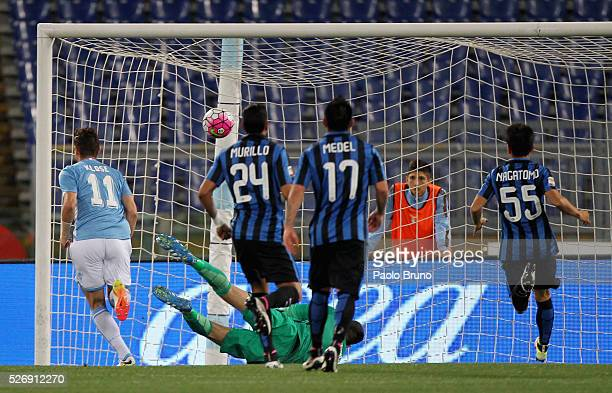 Miroslav Klose of SS Lazio scores the opening goal during the Serie A match between SS Lazio and FC Internazionale Milano at Stadio Olimpico on May 1...