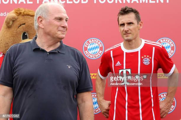 Miroslav Klose of the FC Bayern Muenchen Legends attends with Uli Hoeness President of FC Bayern Muenchen the FC Bayern International Fanclub...