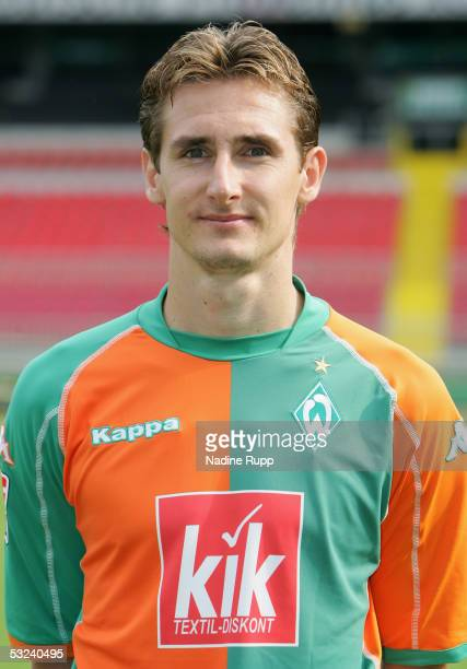 Miroslav Klose poses during the team presentation of Werder Bremen for the Bundesliga season 2005 2006 on July 15 2005 in Bremen Germany