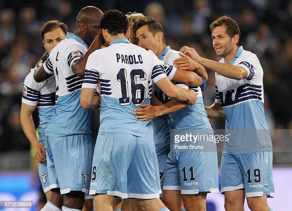 Miroslav Klose with his team mates of SS Lazio celebrates after scoring the team's second goal during the Serie A match between SS Lazio and Parma FC...