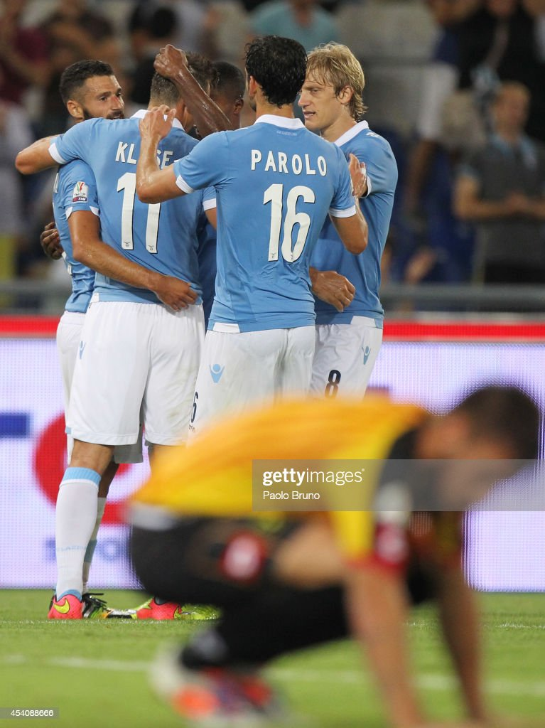 <a gi-track='captionPersonalityLinkClicked' href=/galleries/search?phrase=Miroslav+Klose&family=editorial&specificpeople=206489 ng-click='$event.stopPropagation()'>Miroslav Klose</a> #11 with his teammates of SS Lazio celebrates after scoring the seventh team's goal during the TIM Cup match between SS Lazio and Bassano FC at Olimpico Stadium on August 24, 2014 in Rome, Italy.