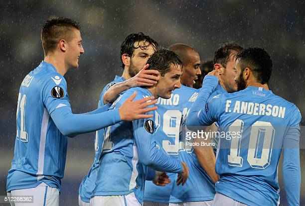 Miroslav Klose with his teammates of SS Lazio celebrates after scoring the team's third goal during the UEFA Europa League Round of 32 second leg...