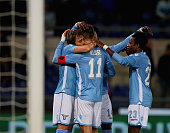 Miroslav Klose with his teammates of SS Lazio celebrates after scoring the opening goal during the Serie A match between SS Lazio and Atalanta BC at...