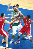 Miroslav Raduljica #10 of Panathinaikos Athens competes with James White #4 of Cedevita Zagreb during the Turkish Airlines Euroleague Basketball Top...