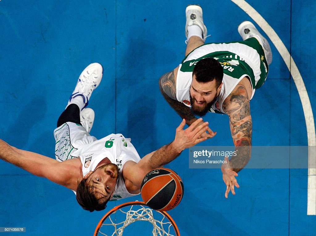 Miroslav Raduljica, #10 of Panathinaikos Athens competes with Semih Erden, #9 of Darussafaka Dogus Istanbul during the Turkish Airlines Euroleague Basketball Top 16 Round 5 game between Panathinaikos Athens v Darussafaka Dogus Istanbul at Olympic Sports Center Athens on January 29, 2016 in Athens, Greece.