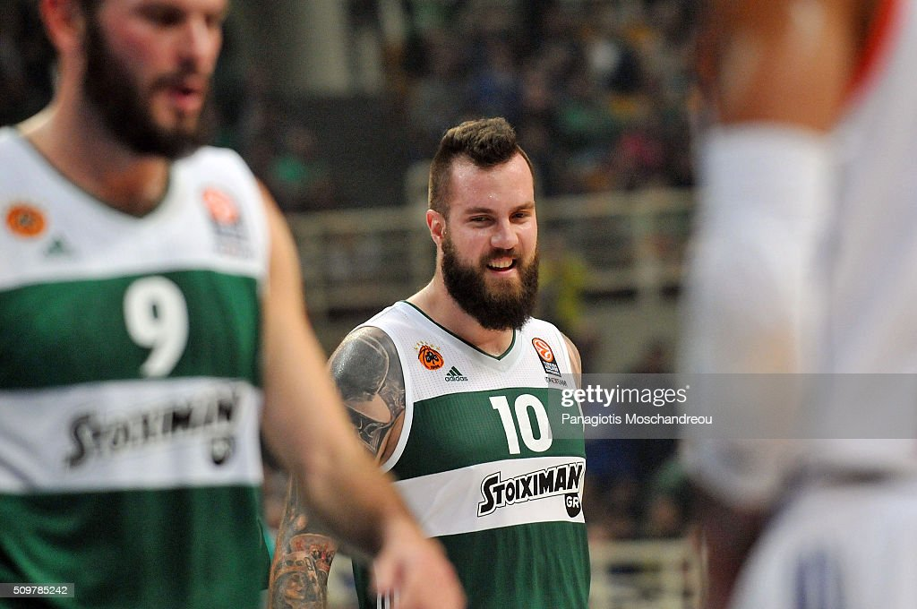 Miroslav Raduljica, #10 of Panathinaikos Athens react during the Turkish Airlines Euroleague Basketball Top 16 Round 7 game between Panathinaikos Athens v Anadolu Efes Istanbul at Olympic Sports Center Athens on February 12, 2016 in Athens, Greece.