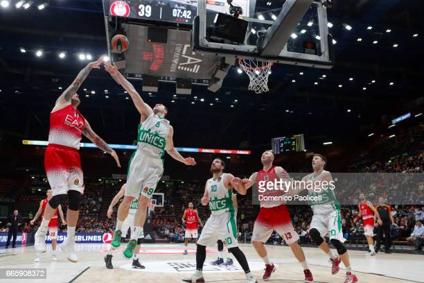 Miroslav Raduljica #11 of EA7 Emporio Armani Milan in action during the 2016/2017 Turkish Airlines EuroLeague Regular Season Round 30 game between...