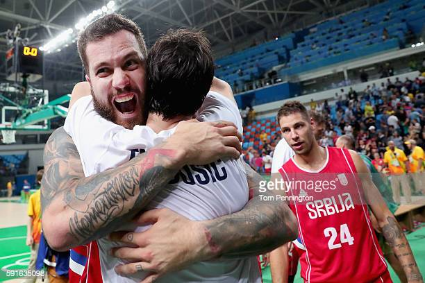 Miroslav Raduljica of Serbia celebrates after beating Croatia during the Men's Basketball Quarterfinal game at Carioca Arena 1 on Day 12 of the Rio...