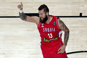 Miroslav Raduljica of Serbia celebrates scoring during the 2014 FIBA World Basketball Championship semifinal match between France and Serbia at...