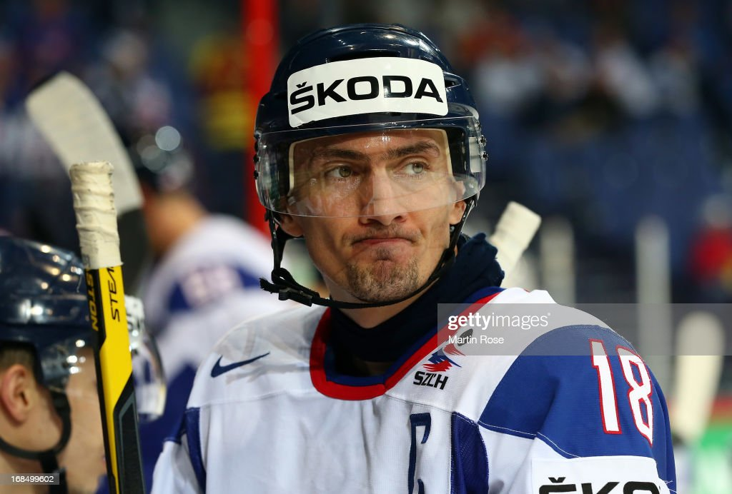<a gi-track='captionPersonalityLinkClicked' href=/galleries/search?phrase=Miroslav+Satan&family=editorial&specificpeople=201484 ng-click='$event.stopPropagation()'>Miroslav Satan</a> of Slovakia looks dejected after the IIHF World Championship group H match between Slovakia and Austria at Hartwall Areena on May 10, 2013 in Helsinki, Finland.