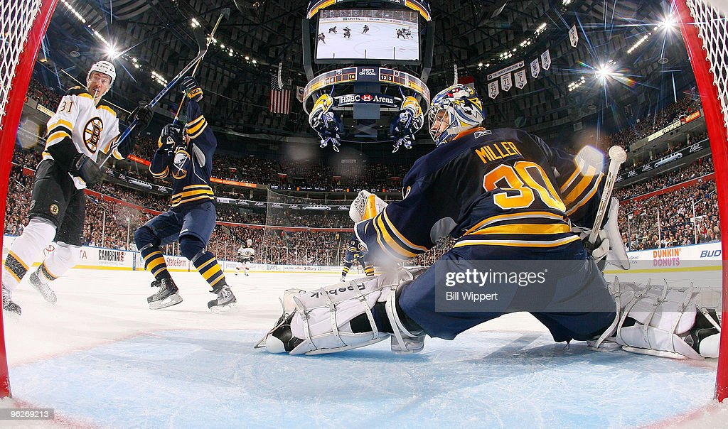 <a gi-track='captionPersonalityLinkClicked' href=/galleries/search?phrase=Miroslav+Satan&family=editorial&specificpeople=201484 ng-click='$event.stopPropagation()'>Miroslav Satan</a> #81 of the Boston Bruins watches Milan Lucic #17 (not pictured) score a second period goal against <a gi-track='captionPersonalityLinkClicked' href=/galleries/search?phrase=Ryan+Miller+-+Ice+Hockey+Player&family=editorial&specificpeople=206960 ng-click='$event.stopPropagation()'>Ryan Miller</a> #30 of the Buffalo Sabres on January 29, 2010 at HSBC Arena in Buffalo, New York.