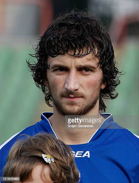 Miroslav Stevanovic of Bosnia and Herzegovina listens to the national anthems prior to the UEFA Under21 Championship match between Bosnia and...