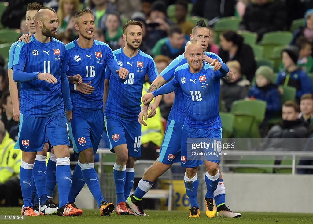 <a gi-track='captionPersonalityLinkClicked' href=/galleries/search?phrase=Miroslav+Stoch&family=editorial&specificpeople=5446681 ng-click='$event.stopPropagation()'>Miroslav Stoch</a> (R) of Slovakia celebrates after scoring during the international friendly match between the Republic of Ireland and Slovakia at Aviva Stadium on March 29, 2016 in Dublin, Ireland.