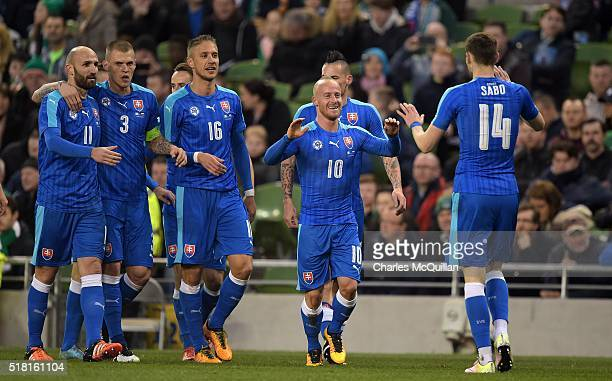 Miroslav Stoch of Slovakia celebrates after scoring during the international friendly match between the Republic of Ireland and Slovakia at Aviva...