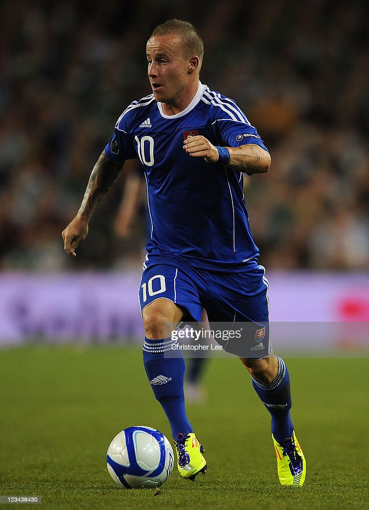 <a gi-track='captionPersonalityLinkClicked' href=/galleries/search?phrase=Miroslav+Stoch&family=editorial&specificpeople=5446681 ng-click='$event.stopPropagation()'>Miroslav Stoch</a> of Slovakia during the UEFA EURO 2012 group B Qualifier match between Republic of Ireland and Slovakia at the AVIVA Stadium on September 2, 2011 in Dublin, Ireland.