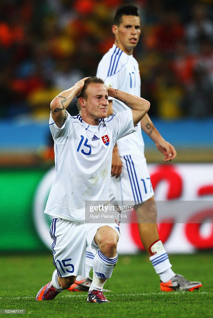 <a gi-track='captionPersonalityLinkClicked' href=/galleries/search?phrase=Miroslav+Stoch&family=editorial&specificpeople=5446681 ng-click='$event.stopPropagation()'>Miroslav Stoch</a> of Slovakia reacts after he misses a goal scoring chance during the 2010 FIFA World Cup South Africa Round of Sixteen match between Netherlands and Slovakia at Durban Stadium on June 28, 2010 in Durban, South Africa.