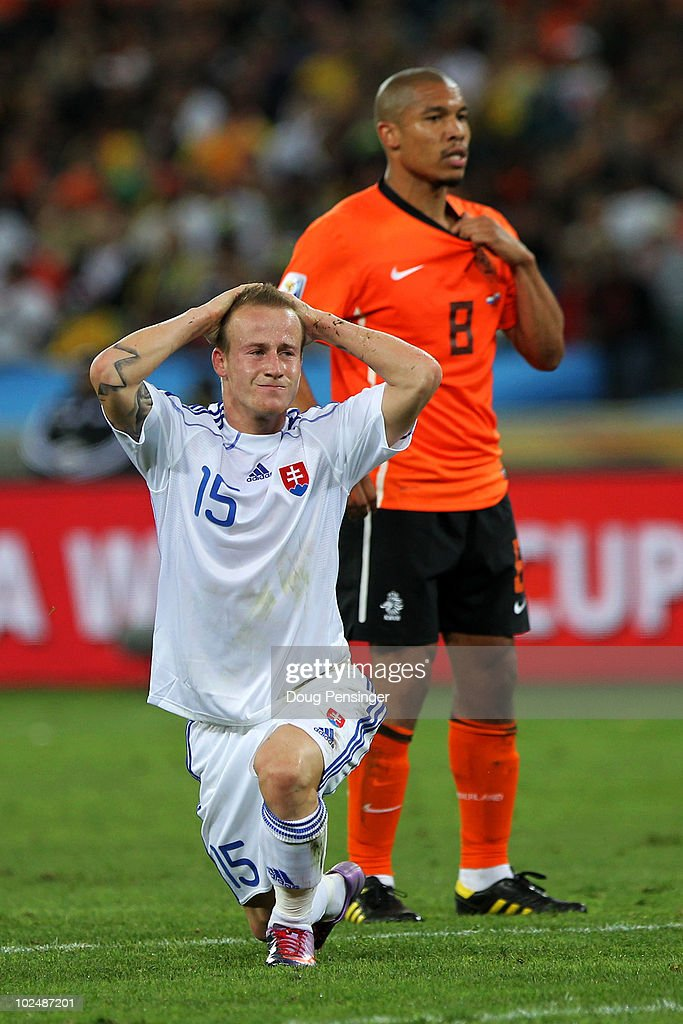 <a gi-track='captionPersonalityLinkClicked' href=/galleries/search?phrase=Miroslav+Stoch&family=editorial&specificpeople=5446681 ng-click='$event.stopPropagation()'>Miroslav Stoch</a> of Slovakia reacts aftera shot is saved during the 2010 FIFA World Cup South Africa Round of Sixteen match between Netherlands and Slovakia at Durban Stadium on June 28, 2010 in Durban, South Africa.