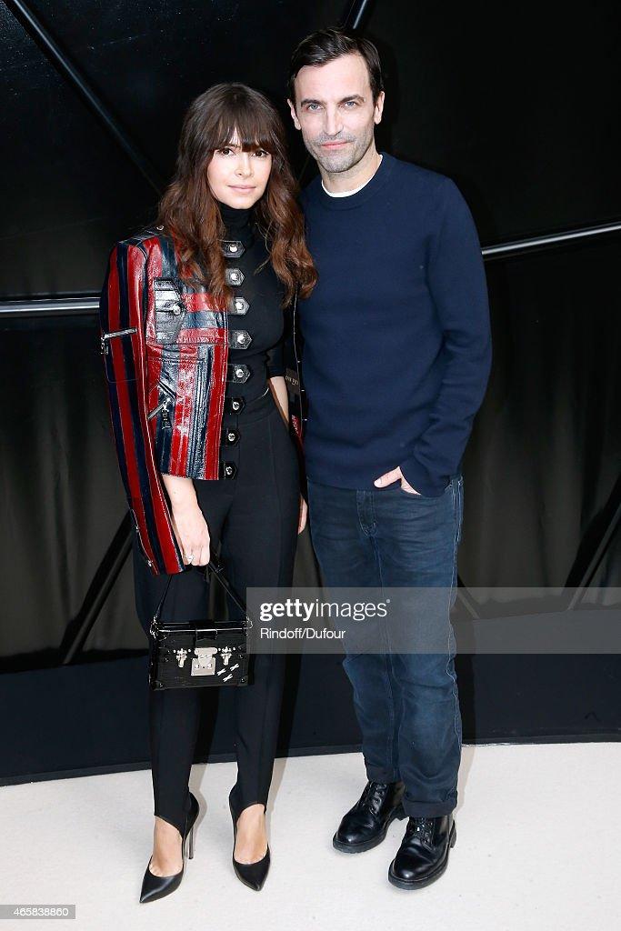 Miroslava Duma and Fashion Designer Nicolas Ghesquiere pose after the Louis Vuitton show as part of the Paris Fashion Week Womenswear Fall/Winter...