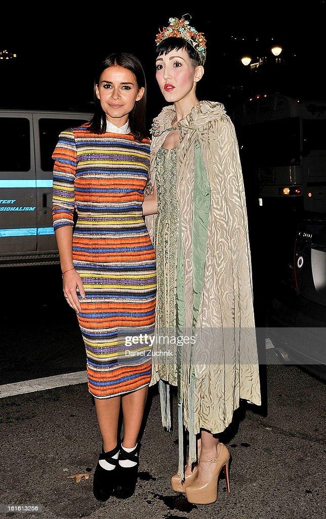 Miroslava Duma and Michelle Harper seen outside the Oscar de la Renta show on February 12, 2013 in New York City.