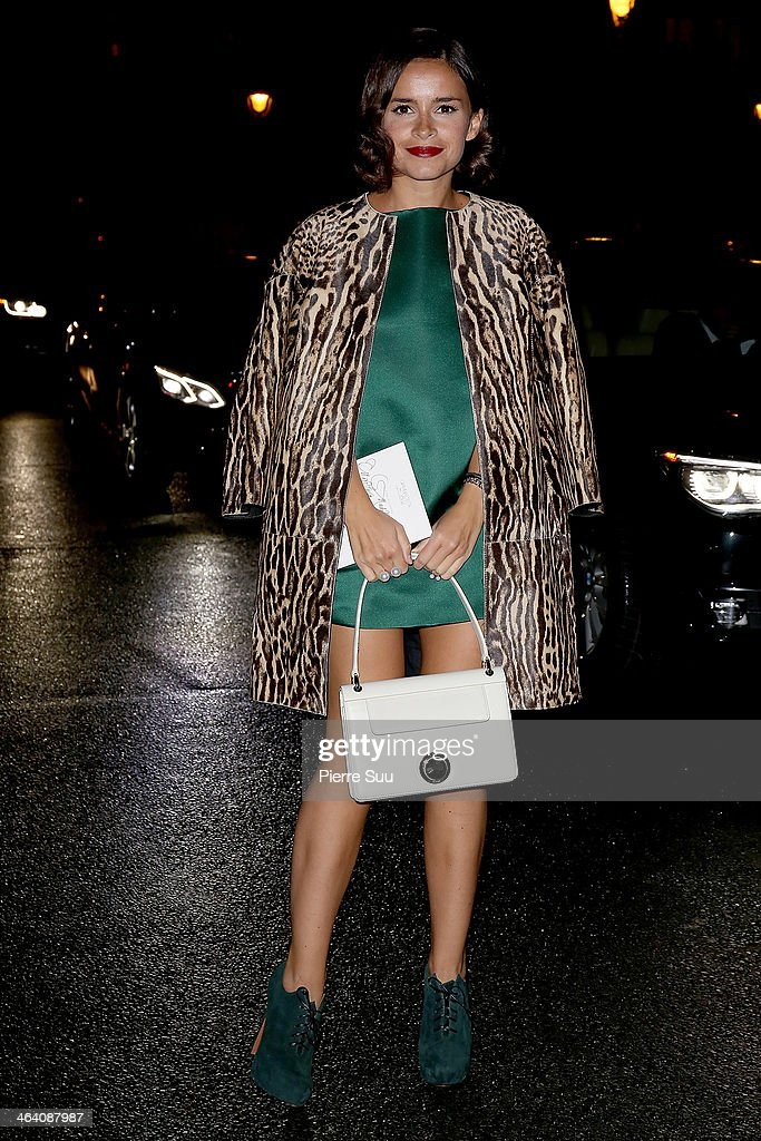 Miroslava Duma arrives at the Giambattista Valli show as part of Paris Fashion Week Haute Couture Spring/Summer 2014 on January 20, 2014 in Paris, France.