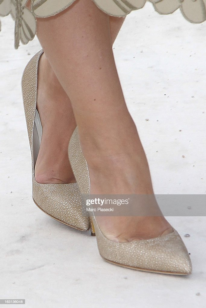 Miroslava Duma (shoe detail) arrives to attend the 'Valentino' Fall/Winter 2013 Ready-to-Wear show as part of Paris Fashion Week on March 5, 2013 in Paris, France.