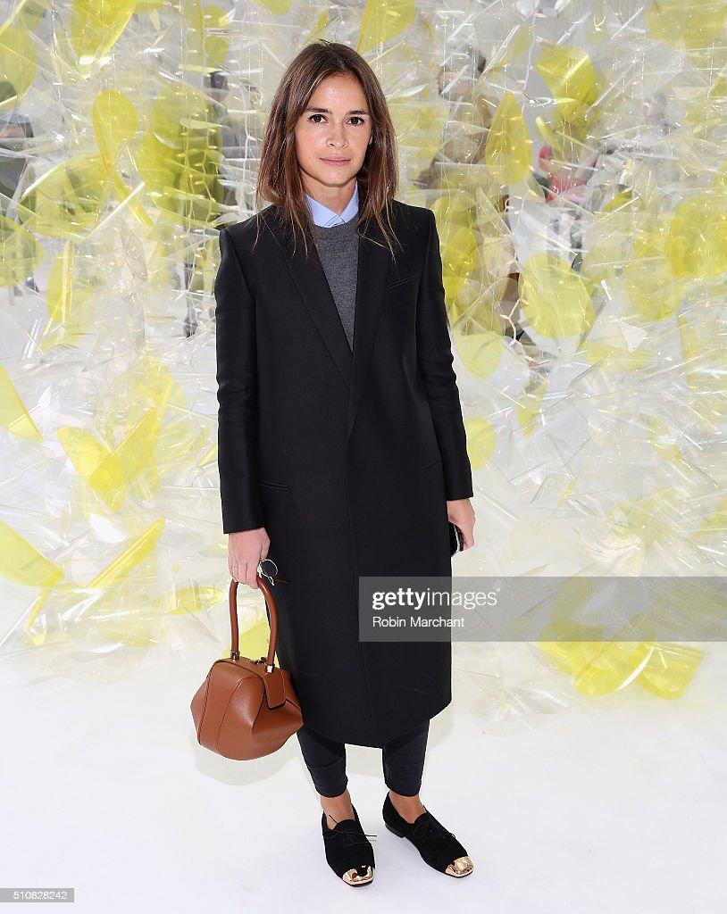 Miroslava Duma attends Delpozo during Fall 2016 New York Fashion Week at Pier 59 Studios on February 17 2016 in New York City