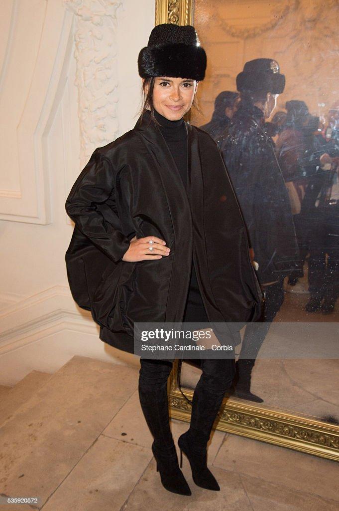 Miroslava Duma attends the Jean Paul Gaultier show as part of Paris Fashion Week Haute Couture Spring/Summer 2014, in Paris.