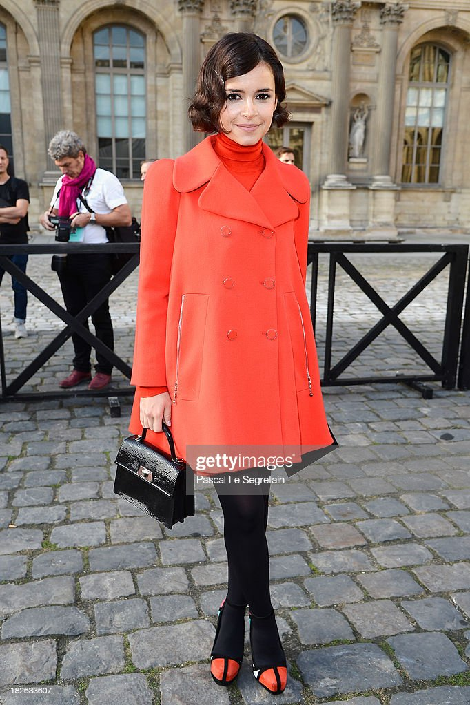 Miroslava Duma attends the Louis Vuitton show as part of the Paris Fashion Week Womenswear Spring/Summer 2014 at Le Carre du Louvre on October 2, 2013 in Paris, France.
