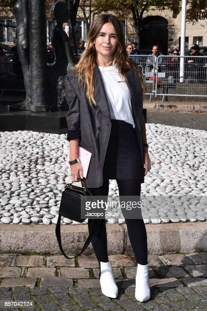 Miroslava Duma is seen arriving at Miu Miu show during Paris Fashion Week Womenswear Spring/Summer 2018 on October 3 2017 in Paris France