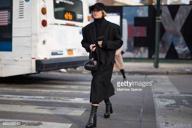 Miroslava Duma is seen attending Yeezy during New York Fashion Week while wearing an all black outfit on February 15 2017 in New York City