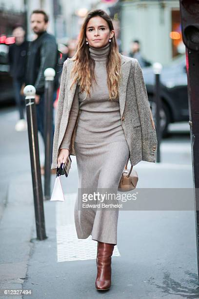 Miroslava Duma is seen outside of the Sonia Rykiel show during Paris Fashion Week Spring Summer 2017 on October 3 2016 in Paris France