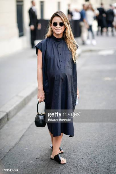 Miroslava Duma is seen outside the Valentino show during Paris Fashion Week Menswear Spring/Summer 2018 on June 21 2017 in Paris France