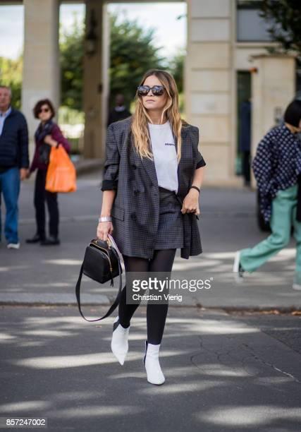 Miroslava Duma seen outside Miu Miu during Paris Fashion Week Spring/Summer 2018 on October 3 2017 in Paris France